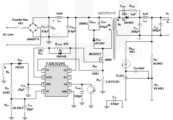 FAN302HL 5 volt switching power supply circuit design electronic project