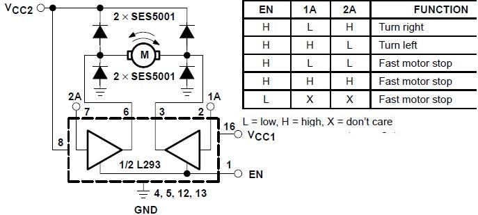 bidirectional motor control using l293 driver rh electroniccircuitsdesign com