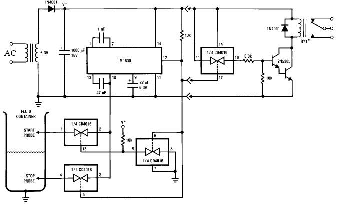 lm1830 flow switch circuit design for fluids