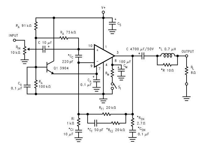 LM2876 40W audio power amplifier circuit design schematic