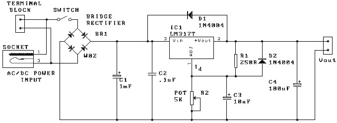 LM317 adjustable power supply electronic project circuit design