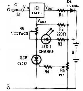 Battery chargher using LM317 regulator circuit schematic
