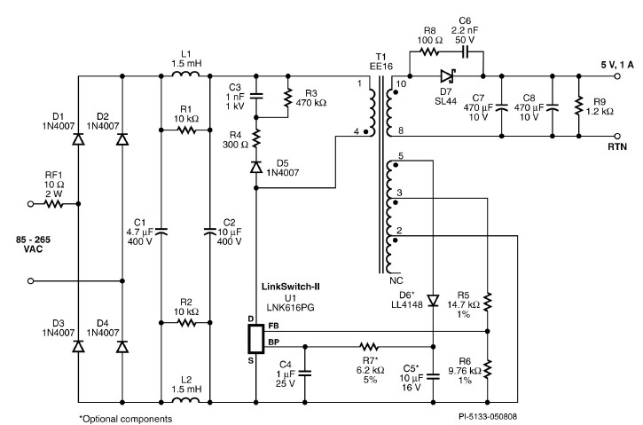 LNK616PG 5 volt constant charger circuit design electronic project