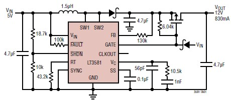 5 to 12V converter circuit diagram using LT3581