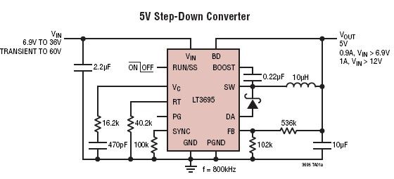 LT3695 5 volt DC switching power supply