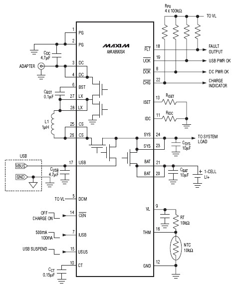 MAX8903A charger circuit diagram