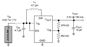 3v Battery step up circuit converter MCP1640