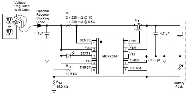 mcp73841 lithium ion lithium polymer chargher schematic circuit project