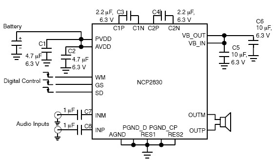 1W audio amplifier circuit NCP2830