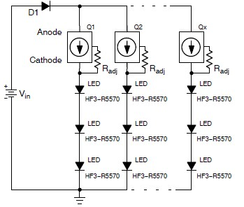 LED torch circuit using NSI45090JDT4G constant current regulator