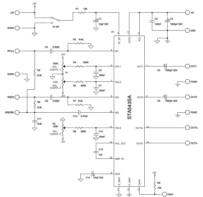 STA543SA 2.1 class AB power amplifier circuit