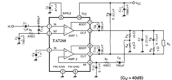 20 watt amplifier circuit using ta7280p ta7281p
