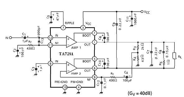 TA7281P 20 watt amplifier circuit