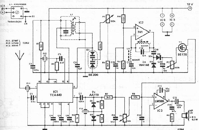 FM CB radio receiver circuit design using TCA440 integrated