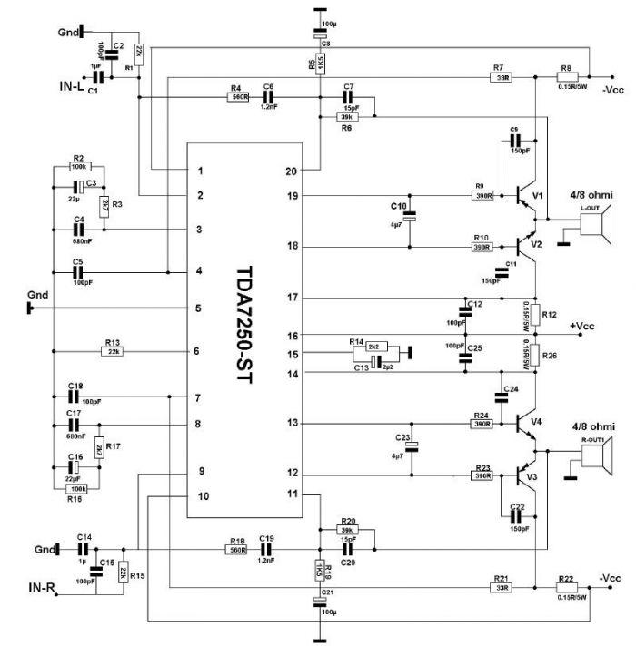 TDA7250 250 watts audio amplifier circuit