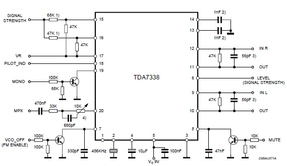 TDA7338 FM stereo decoder circuit