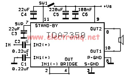 TDA7350 power amplifier circuit design stereo and bridge