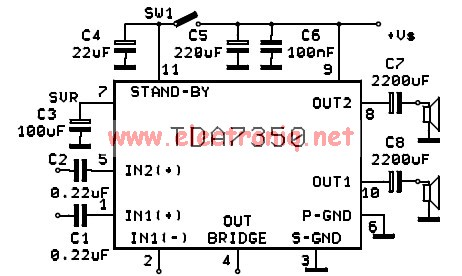 TDA7350 power amplifier circuit design stereo