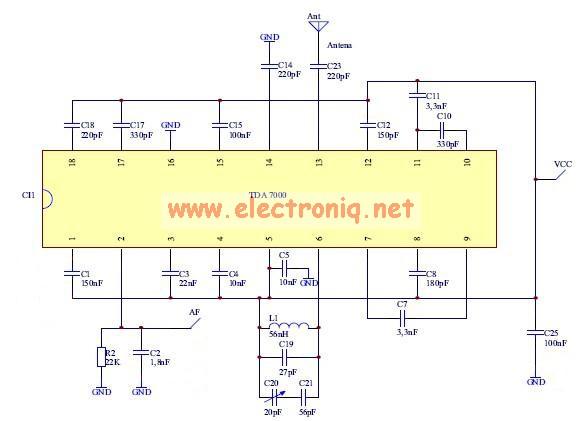 TDA7000 fm radio circuit
