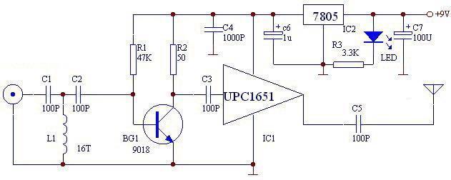 fm transmitter circuit using UPC1651