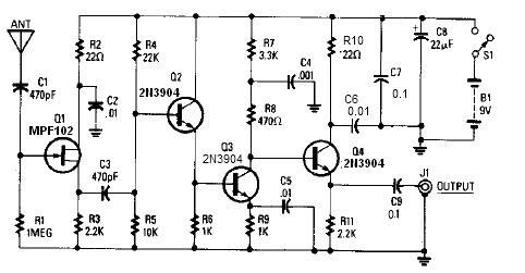 14 20db active antenna circuit design electronic project rh electroniccircuitsdesign com batapola antenna circuit diagram antenna duplexer circuit diagram