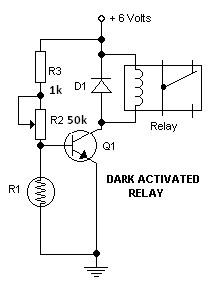 Dark switch activated relay circuits diagrams