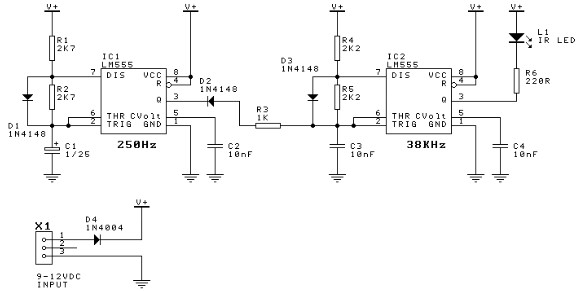 555 timer door minder electronic project circuit diagram