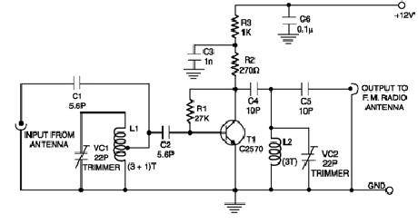 low cost fm booster circuit project with common electronic components rh electroniccircuitsdesign com simple fm signal booster circuit diagram fm transmitter booster circuit diagram