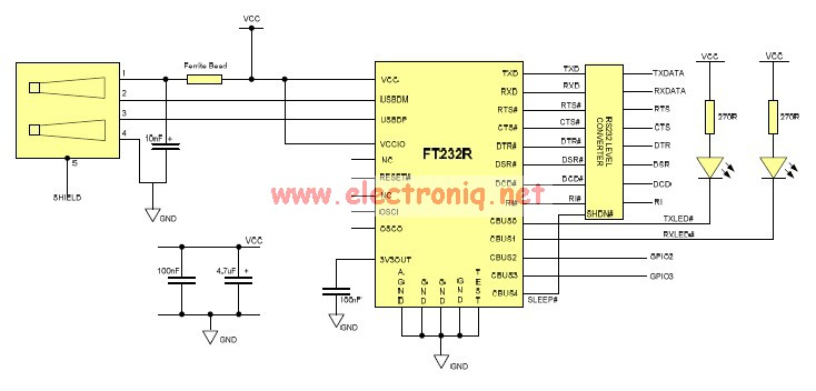[SCHEMATICS_4NL]  USB to Serial RS232 adapter circuit design electronic project | Rs232 To Usb Adapter Wiring Diagram |  | Electronic Circuits Design of Electronics Projects
