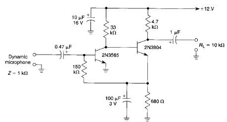 High gain microphone preamplifier electronic project circuit diagram