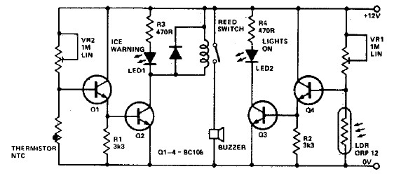 ice warning and lights reminder circuit diagram project rh electroniccircuitsdesign com mini electronics projects with circuit diagram electronic circuits projects diagrams free