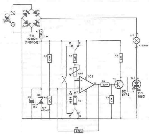 Light sensitive switch circuit design electronic project