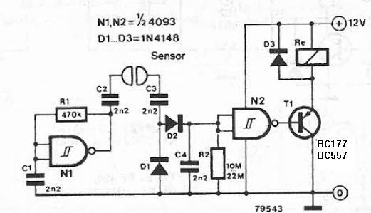 Liquid detector circuit diagram using logic gates