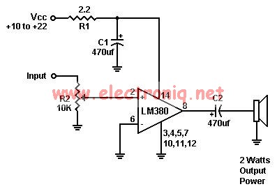 LM380 audio amplifier electronic project circuit design