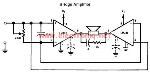 LM380 audio amplifier electronic project circuit design bridge mode
