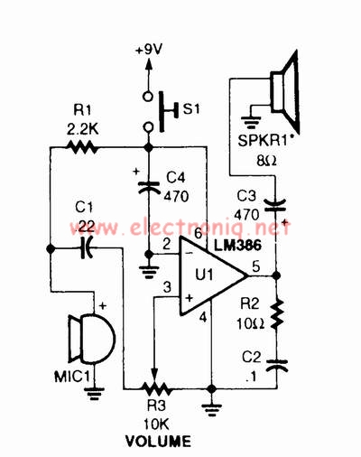 LM386 voice audio power amplifier circuit design project