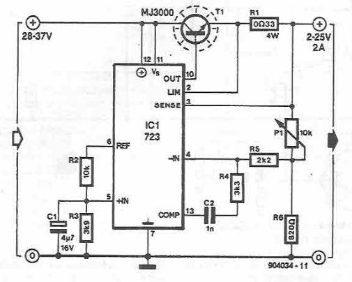 LM723 variable power supply circuit diagram