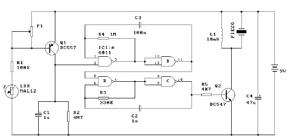 Light alarm schematic circuit diagram project using mal12