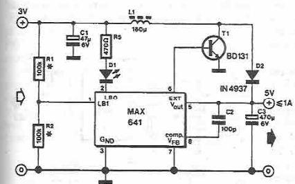 MAX641 high current step-up converter