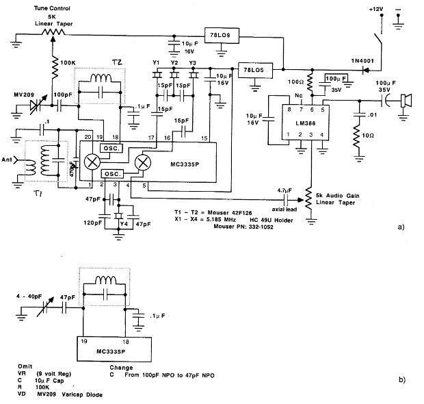 MC3335P 80m SSB receiver circuit