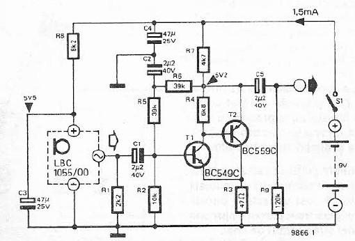 Electret microphone amplifier circuit