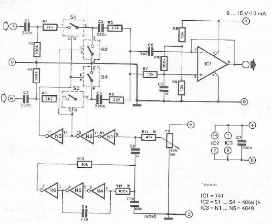 Two channel mixing desk circuit