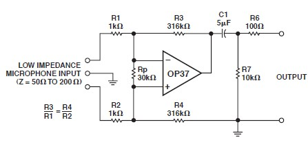 OP37 low noise microphone preamp circuit design electronic project