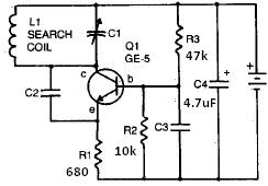Radio metal detector circuit with tranistors