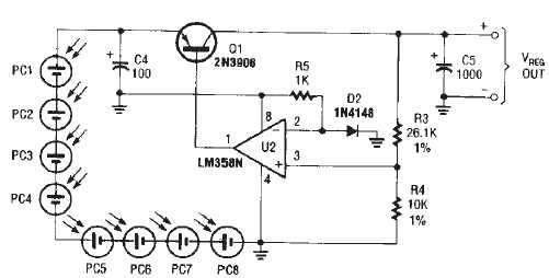 portable solar charger circuit designed using lm358n