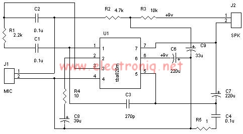 TBA820M high gain audio amplifier circuit design electronic project