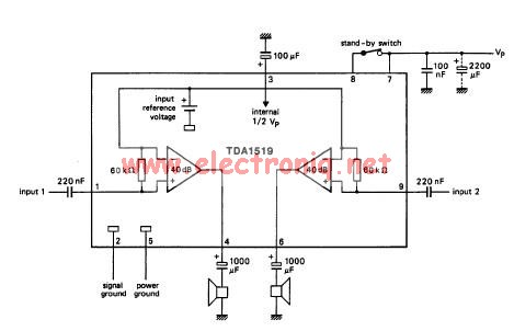 TDA1519 audio amplifier circuit diagram project