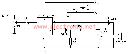 TDA2003 10 watts audio amplifier circuit design electronic project