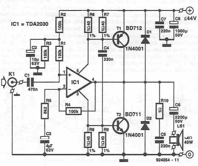 TDA2030 40W power amplifier circuit diagram