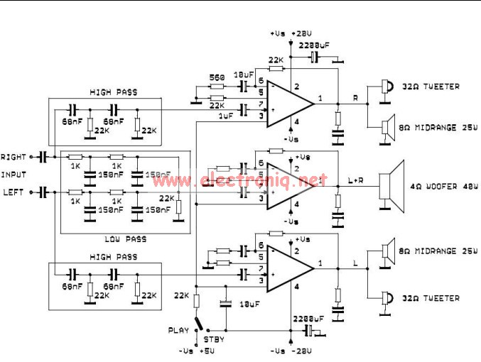 TDA2052 active audio system circuit electronic project